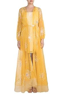 Yellow Block Printed Jacket With Flared Dress by Vidhi Wadhwani
