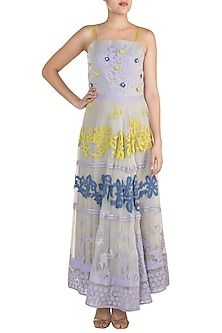 Grey Strappy Flared Gown by Vidhi Wadhwani
