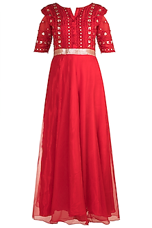 Red Metallic Gown With Belt by Vidhi Wadhwani