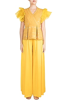 Mustard Peplum Top With Palazzo Pants by Vidhi Wadhwani