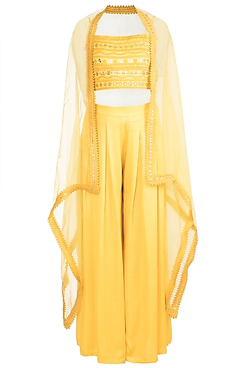 Yellow Asymmetric Cape With Crop Top & Pants by Vidhi Wadhwani