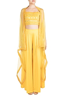 Yellow Asymmetric Cape With Crop Top & Pants by Vidhi Wadhwani