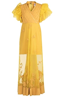 Yellow Applique Sheer Gown by Vidhi Wadhwani