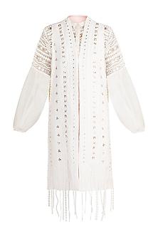 Off White Geometric Applique Jacket by Vidhi Wadhwani