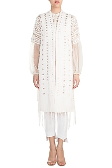 Off White Geometric Applique Jacket by Vidhi Wadhwani