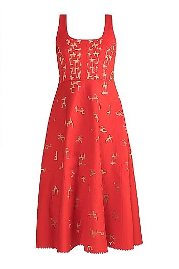 Red Panelled Neoprene Dress by Vidhi Wadhwani