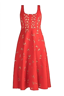 Red Panelled Neoprene Dress by Vidhi Wadhwani