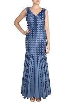 Cobalt Blue Applique Mermaid Gown by Vidhi Wadhwani