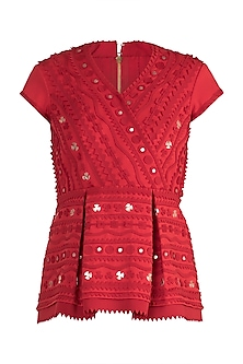Red Geometric Applique Peplum Top by Vidhi Wadhwani