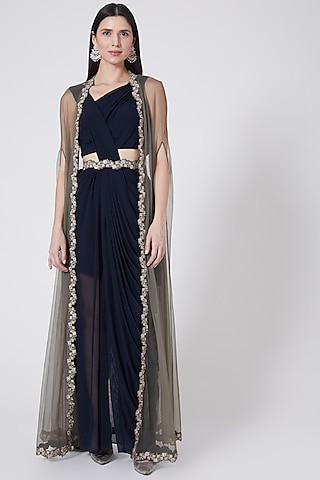 Cobalt Blue Hand Embroidered Draped Saree Set by Vedangi Agarwal