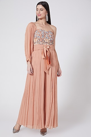 Peach Embroidered One Shoulder Jumpsuit by Vedangi Agarwal