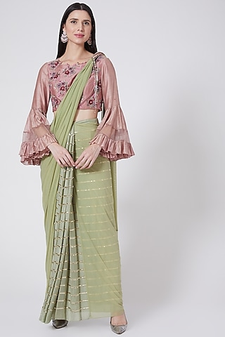Mint Green Hand Embroidered Draped Saree Set by Vedangi Agarwal