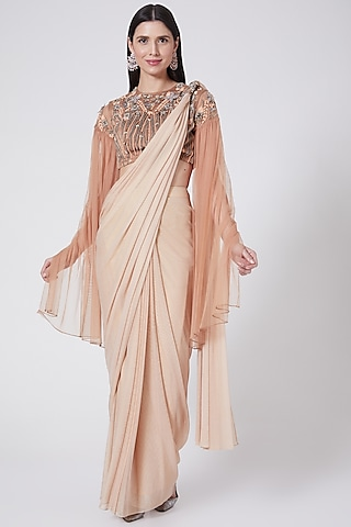 Peach Embroidered Draped Saree Set by Vedangi Agarwal