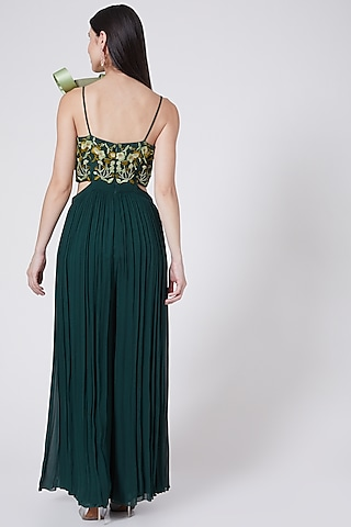 Bottle Green Embroidered Jumpsuit by Vedangi Agarwal