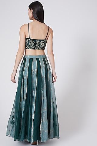 Bottle Green Embroidered Multi Paneled Skirt Set by Vedangi Agarwal
