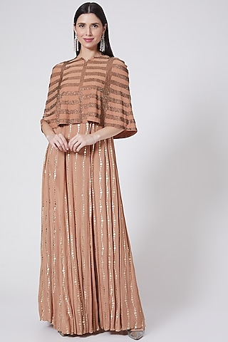 Nude Foil Printed & Embroidered Gown With Cape by Vedangi Agarwal