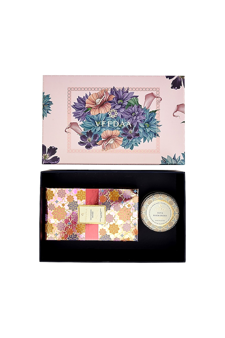 Multi Colored Lily & Black Orchid Candle & Diffuser Set by VEEDAA