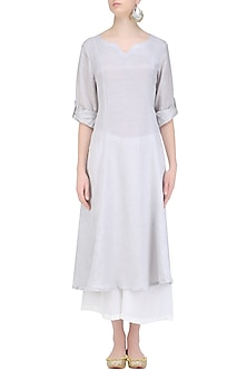 Steel Grey 'A' Line Abstract Pita Embroidery Kurta with off White Palazzos by Urvee Adhikaari