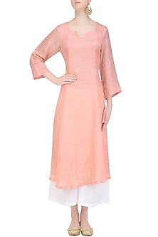 Peach 'A' Line Abstract Pita Embroidery Kurta with off White Palazzos by Urvee Adhikaari