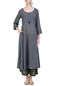 Stone Grey 'A' Line Bird and Dangler Buttons Kurta with Printed Palazzos by Urvee Adhikaari