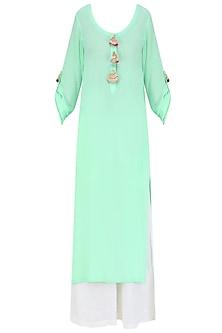 Mint Green Straight Fit Kurta with off White Palazzos and Pink Gota Work Dupatta by Urvee Adhikaari