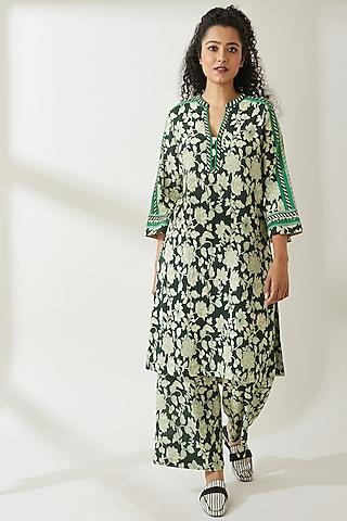 Green Floral Printed Kurta by VIAM