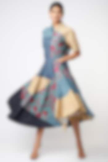 Cobalt Blue Printed Blocked Skirt by Vishala Shree