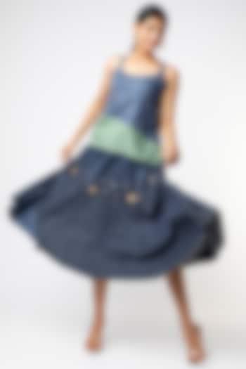 Cobalt Blue Skirt With Sequins Work by Vishala Shree