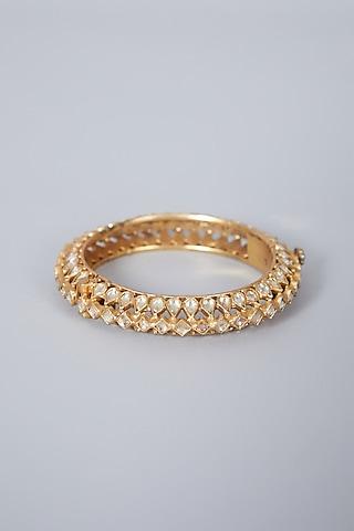 Gold Finish Kundan Polki Bangle In Sterling Silver by Vinanti Manji