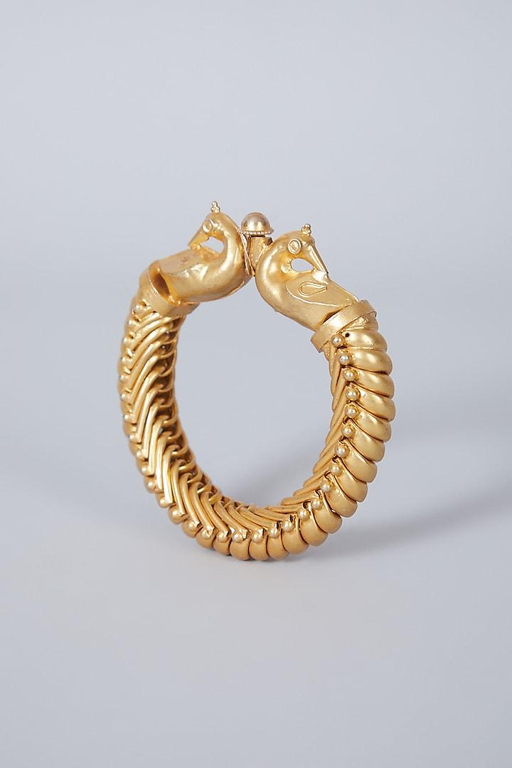 Gold Finish Kundan Polki Peacock Kada Bangle In Sterling Silver by Vinanti Manji
