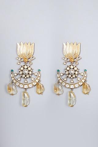 Gold Finish Sapphire Dangler Earrings In Sterling Silver by Vinanti Manji