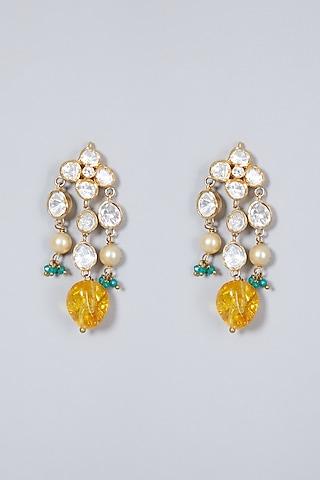 Gold Finish Diamond Dangler Earrings In Sterling Silver by Vinanti Manji