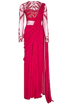 Fuschia Embroidered Saree Gown Set by VIVEK PATEL