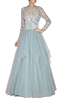 Light Blue Embroidered Gown by VIVEK PATEL