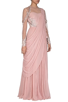 Pink Hand Embroidered Saree Gown by VIVEK PATEL