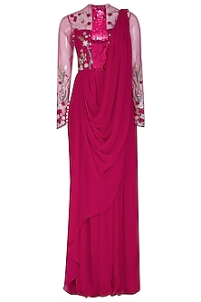 Fuchsia Floral Embroidered Saree Gown by VIVEK PATEL