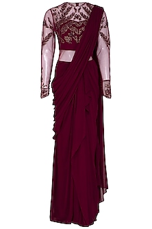 Wine Embroidered Saree Gown by VIVEK PATEL