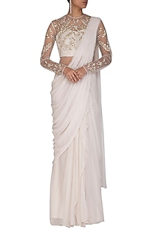 Ivory Embroidered Saree Gown by VIVEK PATEL