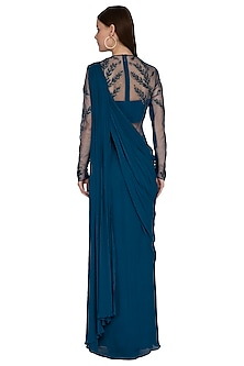 Teal Embroidered Saree Gown by VIVEK PATEL