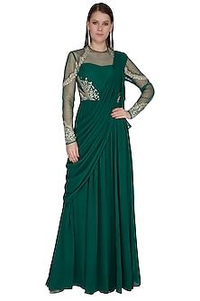Green Embroidered Saree Gown by VIVEK PATEL