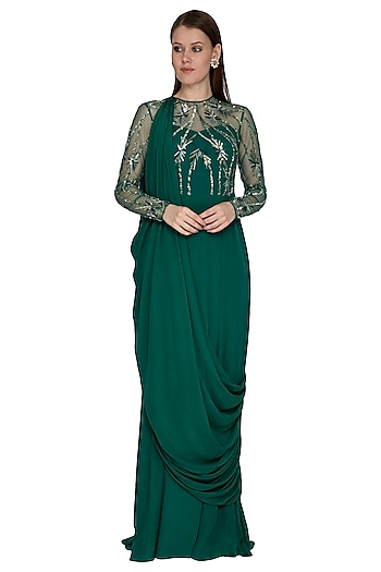 Green Embroidered Draped Gown by VIVEK PATEL