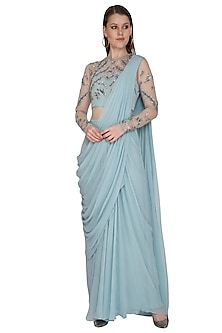 Frost Blue Embroidered Saree Gown by VIVEK PATEL
