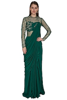 Irish Green Embroidered Saree Gown by VIVEK PATEL