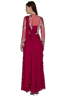Fuchsia Embroidered Saree Gown by VIVEK PATEL
