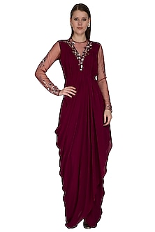 Wine Embroidered Gown by VIVEK PATEL