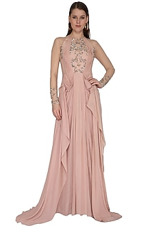 Pearl Pink Embroidered Gown by VIVEK PATEL
