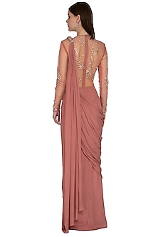 Pink Embroidered Saree Gown by VIVEK PATEL