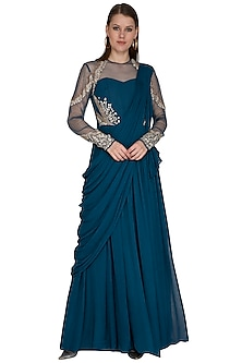 Teal Saree Gown With Embroidery by VIVEK PATEL