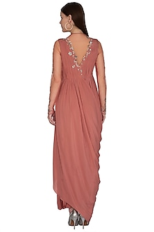 Pink Embroidered Gown by VIVEK PATEL
