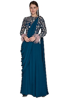 Teal Blue Embroidered Saree Gown by VIVEK PATEL